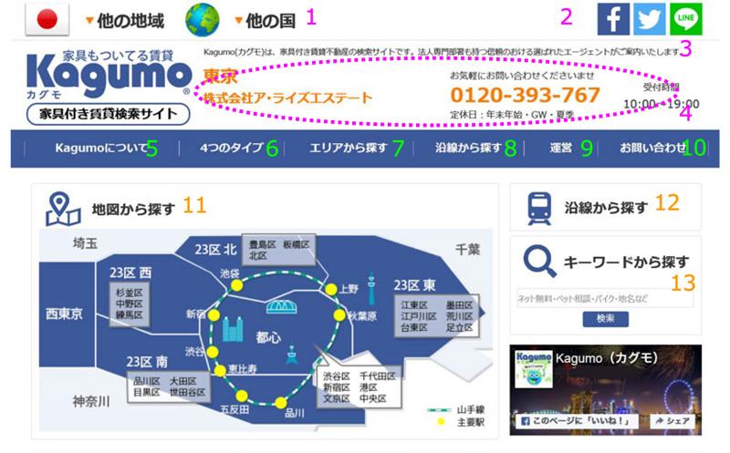 家具付き賃貸検索サイトのKagumo(カグモ)東京版